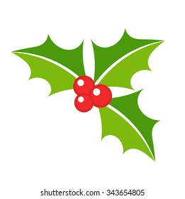 Holly berry leaves Christmas symbol. Vector illustration