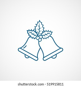 Holly Berry On Bells Christmas New Year Blue Line Icon On White Background