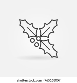 Holly berry outline icon. Vector Christmas concept symbol in thin line style