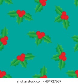 Holly berry seamless. Vector pattern.