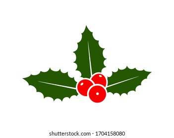 Holly berry set. Isolated holly berry on white background. Christmas