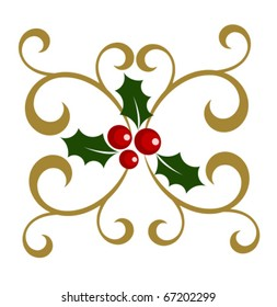 Holly berry symbol of Christmas with decorative elements. Vector illustration