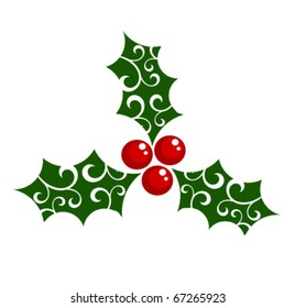 Holly berry - symbol of Christmas. Vector illustration