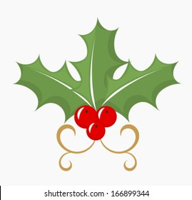 Holly berry - three leaves and red fruits. Vector illustration