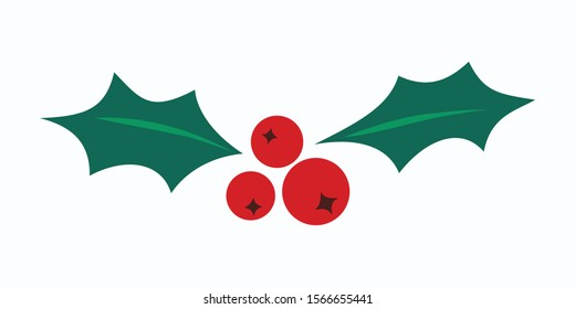 Holly berry vector icon. Merry Christmas symbol illustration isolated on white. Flat red mistletoe berries with green leaves.