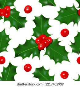 Holly berry. winterberry seamless pattern. Christmas symbol vector illustration Decorative plant. isolated on white. concept idea for logo, tag, banner, advertising, prints, wrapping winter decoration