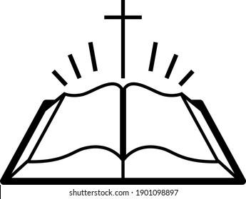 Holly Bible Icon. Black Glyph Design. Vector Illustration.