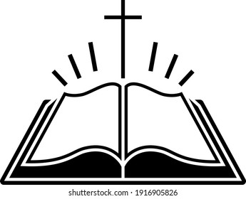 Holly Bible Icon. Black Stencil Design. Vector Illustration.