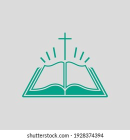 Holly Bible Icon. Green on Gray Background. Vector Illustration.
