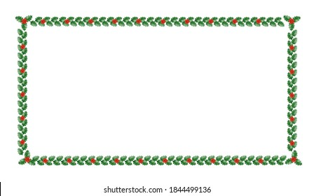 Holly Christmas border with green leaves and red berries. Christmas frame with holly. Vector illustration.
