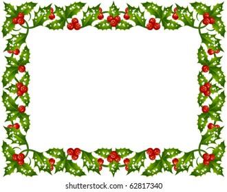 Holly Christmas frame 3