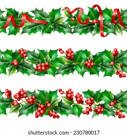 Holly. Christmas seamless background. Vector  EPS 10.