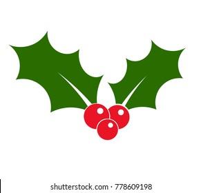 Holly icon. Christmas flat illustration