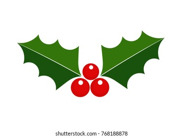 Holly icon. Christmas winter berry plant symbol