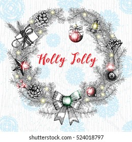 Holly Jolly calligraphy phrase in frame with various hanging Christmas ornaments such as Christmas bauble, heart, present, gift box, cone, toys, lights and fir tree branches with bows. Vector.