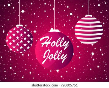 Holly Jolly. Christmas ball and fireworks, sparks with stars. Merry Christmas greeting card. Vector illustration