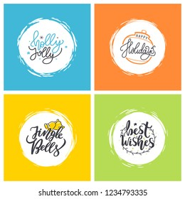 Holly Jolly, Happy Holidays, Jingle Bells, Best wishes doodles, calligraphic inscription for greeting cards. Vector Merry Christmas lettering in frames