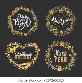 Holly Jolly, Merry Christmas, New Year, Happy Holidays and warm wishes, cookies for Santa lettering white text, Xmas greeting cards with ornamental golden frames and heart form on black background