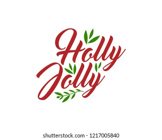 Holly Jolly vector text Calligraphic Lettering design card template