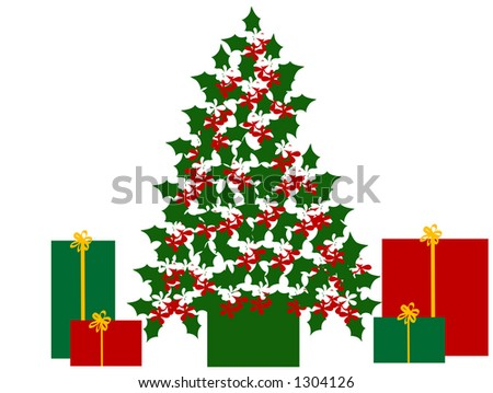 Holly Leaves Flowers Shaped Like Christmas Stock Vector Royalty