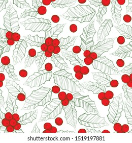Holly mistletoe natural winter vector christmas seamless pattern hand draw in outline style. Xmas Line art ilex seamless pattern holiday vector. Traditional red holly berry branch retro background