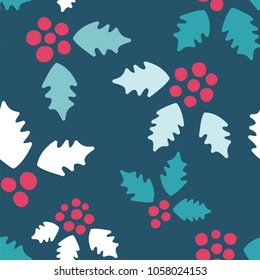 Holly Pattern. Endless Vector Background.