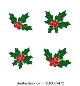 Holly plant. Vector illustration of a set of samples for the cards.