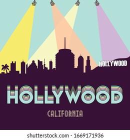 Hollywood California USA skyline silhouette flat design vector design illustration