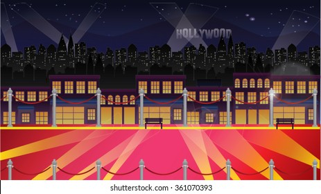 Hollywood Celebrity Background At Night - Red Carpet, Railings, Lights Glamour Cartoon Vector