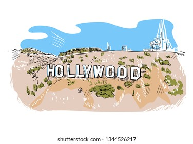 Hollywood hill vector sketch line usa landscape hand drawn
