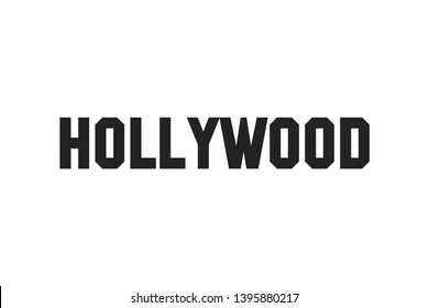 Hollywood lettering banner. Black letters isolated on white backgrund. Tourism in California. EPS 10