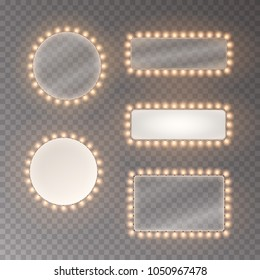 Hollywood lights. Illuminated realistic banners isolated on transparent background. Vector string frame bulbs. Las Vegas casino night party sign set. Glowing lights borders for advertising design