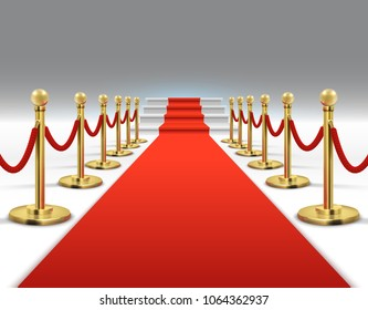 Hollywood luxury and elegant red carpet with stairs in perspective vector illustration. Red carpet and celebrity ceremony, event platform