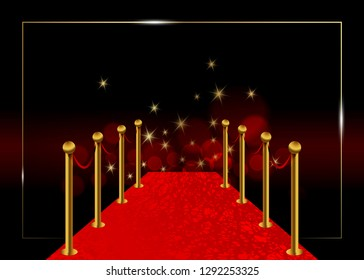 Hollywood luxury and elegant red carpet event in perspective illustration. Red color carpet for celebrity, Success and stars prestige event vector concept for entrance vip. Blurred background