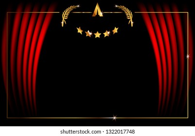 Hollywood luxury Template concept, Red Stage Curtain, vector illustration abstract golden stars frame logo icon, red carpet, Vip Card event, Academy award concept background