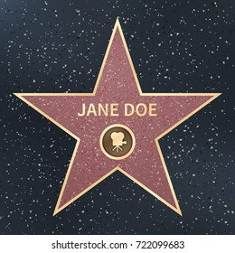 Hollywood movie actor celebrity walk of fame star. Vector Illustration. Famous popular talent star