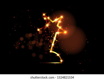 HOLLYWOOD  Movie PARTY Gold STARS AWARD Statue Prize Giving Ceremony. Golden star prize concept, Silhouette statue icon. Films and cinema symbol stock, Academy award vector isolated or black