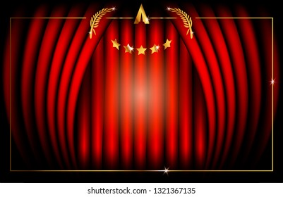 Hollywood Oscar Template concept, Red Stage Curtain, vector illustration abstract golden stars frame logo icon, red carpet, Academy award concept background