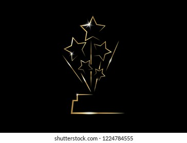 HOLLYWOOD Oscars Movie PARTY Gold STAR AWARD Statue Prize Giving Ceremony. Golden stars prize concept, Silhouette statue icon. Films and cinema symbol stock, Academy award vector isolated or black