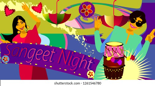 Hollywood Sangeet Night.Bride & Groom sangeet performance.Wedding invitation card.Vector illustration.