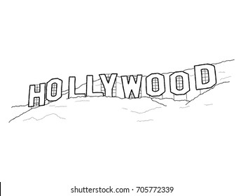 Hollywood Sign, Griffith Park, Mount Lee, Hollywood Hills, Los Angeles, California: Vector Illustration Hand Drawn Cartoon Art