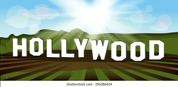 Hollywood Sign. Popular inscription. vector