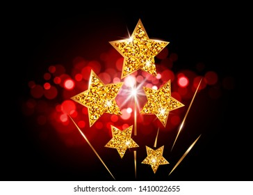 Hollywood Stars rise up to glory. Movie party gold glitter star award, vector academy vip card on bright red blurry background