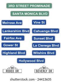 Hollywood street signs - vector illustration