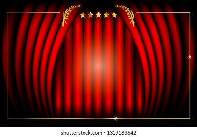Hollywood Template concept, Red Stage Curtain, vector illustration abstract golden stars frame logo icon, red carpet, Academy award concept background