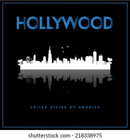 Hollywood, USA skyline silhouette vector design on black background.