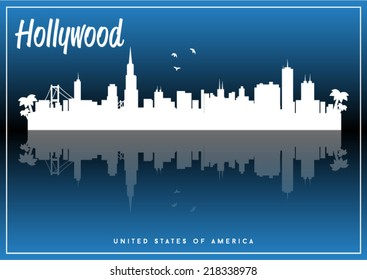 Hollywood, USA skyline silhouette vector design on parliament blue background.