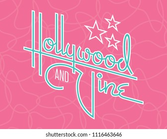 Hollywood and Vine Retro Vector Design with Stars. Custom hand drawn script design of the words Hollywood and Vine with retro 1950s style vibe, reminiscent of old motel and diner signs.