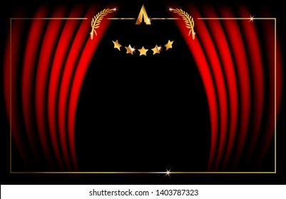 Hollywood Vip Card Template concept, Red Stage Curtain, vector illustration abstract golden stars and gold frame logo icon, red carpet, luxury event . Academy award concept background