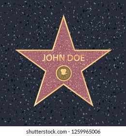 Hollywood walk of fame star on celebrity boulevard. Vector symbol star for iconic movie actor